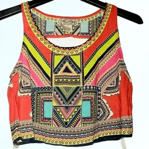 Johnny Was Flying Tomato Cropped Aztec Tank